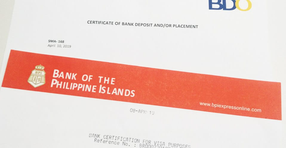 Canada Proof of fund letter from banks