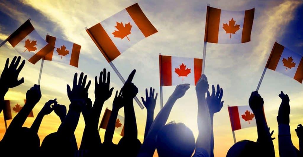 canada flags raised