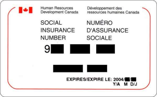 social identification number for job application in canada