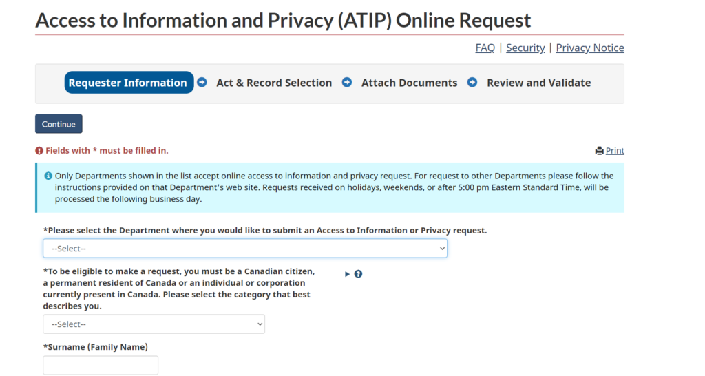 Access to Information and Privacy Online Request interface for Canada